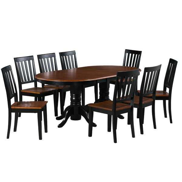 Kasey 9 Piece Extendable Solid Wood Dining Set by Alcott Hill