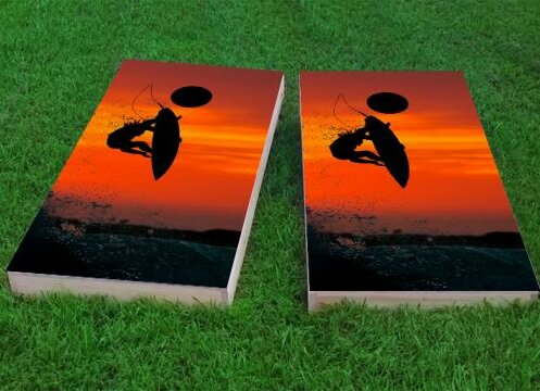 Surfer with Red Sky Cornhole Game (Set of 2) by Custom Cornhole Boards