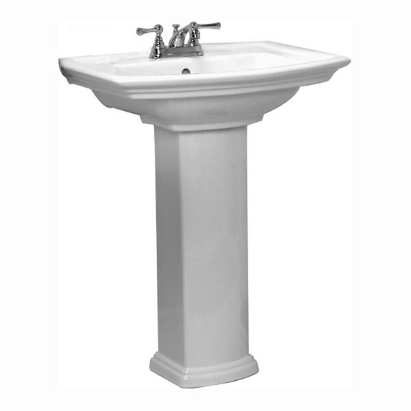 Washington 765 Vitreous China 30 Pedestal Bathroom Sink with Overflow by Barclay