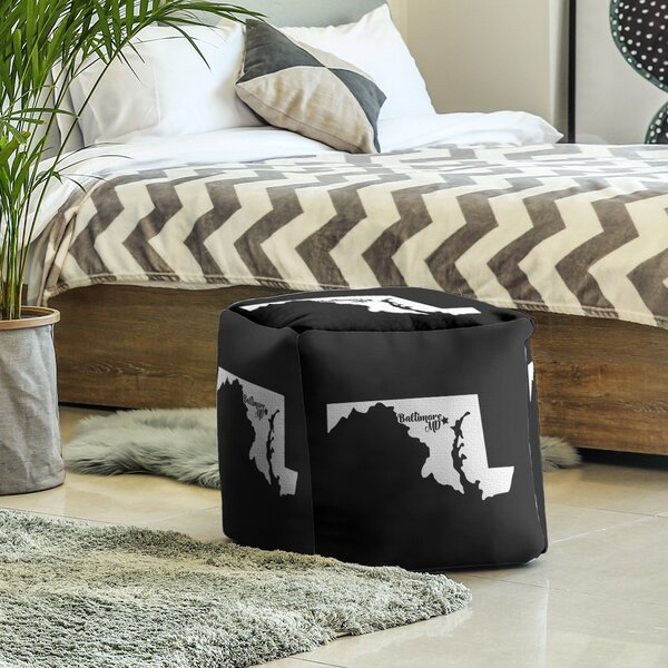 Baltimore Maryland Cube Ottoman by East Urban Home East Urban Home