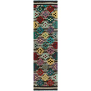 Purchase One-of-a-Kind Renita Kilim Hand-woven Wool Ivory/Black Area Rug By Isabelline