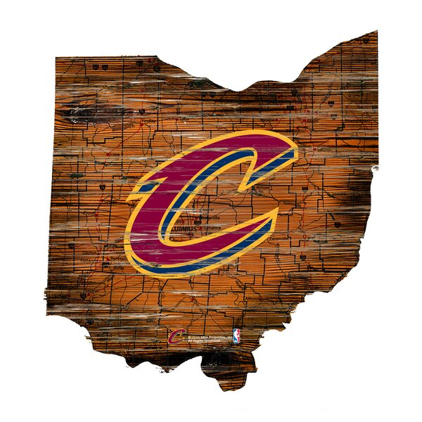 NBA Cavaliers Distressed State Wall Décor by Fan Creations