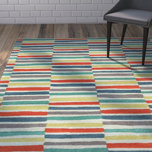 Futch Hand-Tufted Red/Blue Area Rug by Brayden Studio