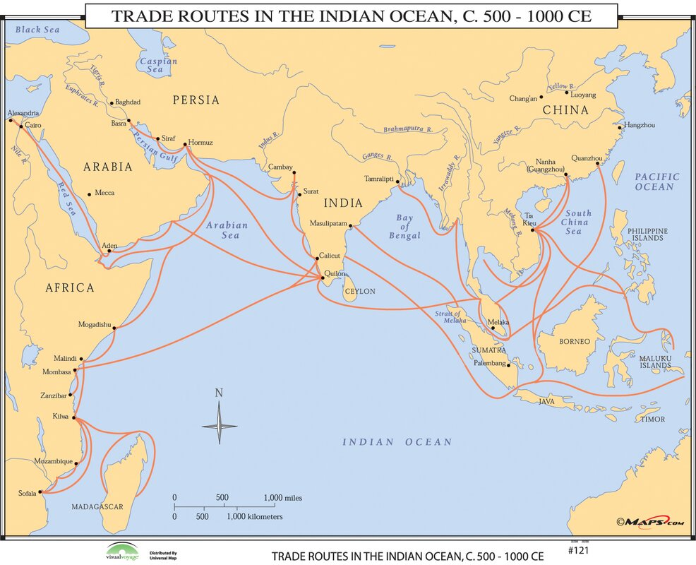Universal Map World History Wall Maps - Trade Routes in ...