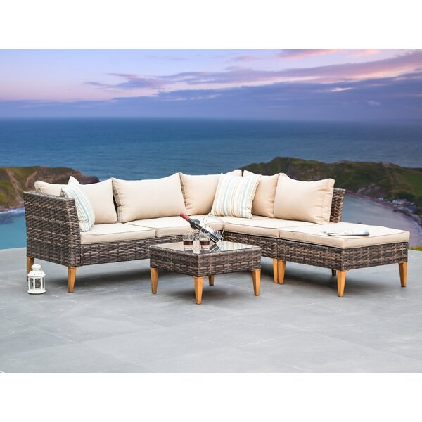 Pfannenstiel 4 Piece Sectional Set with Cushions by Wrought Studio