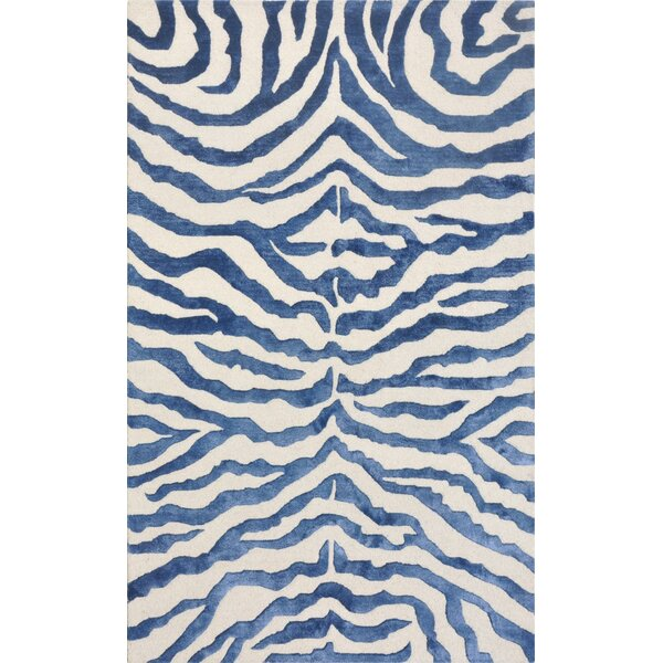Edgy Hand Tufted Wool Navy/Beige Area Rug by Pasargad
