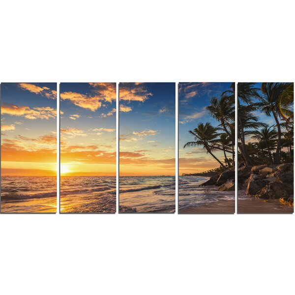 Paradise Tropical Island Beach with Palms 5 Piece Photographic Print on Wrapped Canvas Set by Design Art