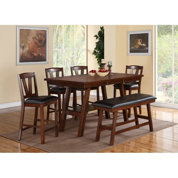 Kaneshiro 6 Piece Counter Height Solid Wood Dining Set by Alcott Hill