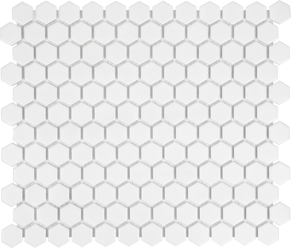 "1"" x 1"" Porcelain Mosaic Hex Tile in White"