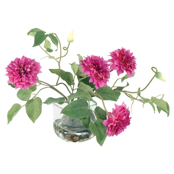 Faux Clematis Floral Arrangement in Decorative Vase by New Growth Designs