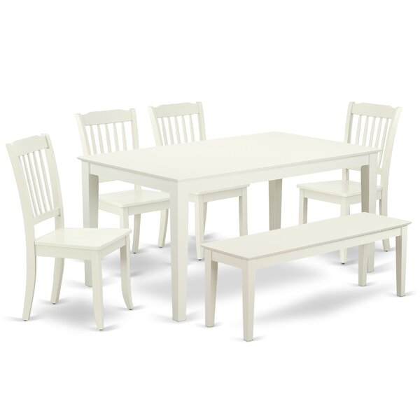 #2 Krier 6 Piece Solid Wood Dining Set By August Grove Today Only Sale