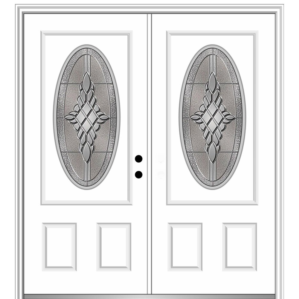 Verona Home Design Grace Primed Steel Prehung Front Entry Door