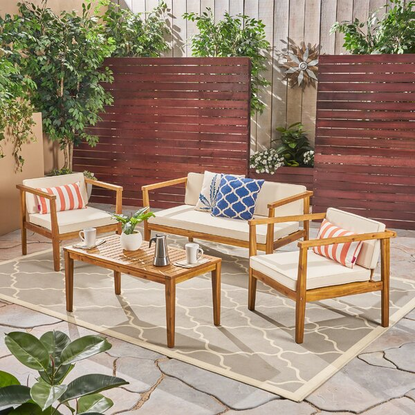 Grunewald 4 Piece Sofa Seating Group with Cushions by Bay Isle Home
