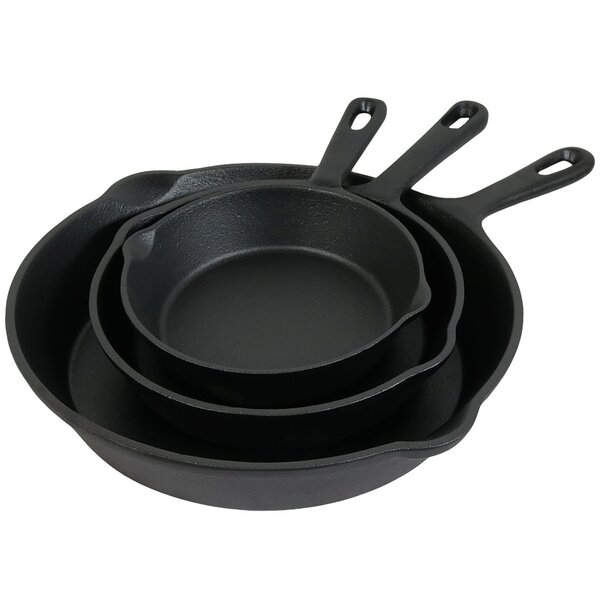 Maymie 3 Piece Cast Iron Frying Pan/Skillet Set by