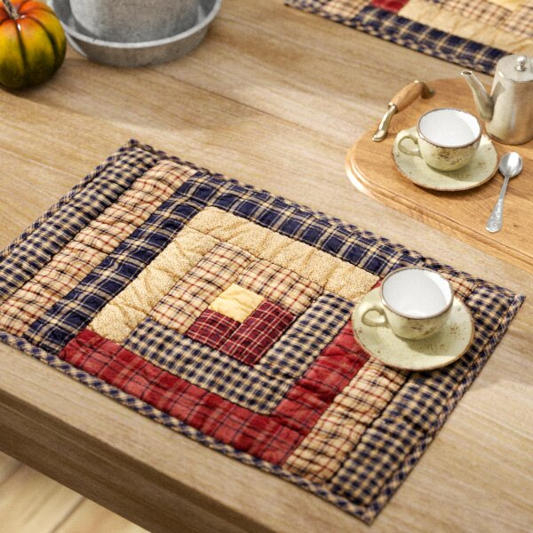 Lorena Log Cabin Block Quilted Placemat (Set of 6) by August Grove