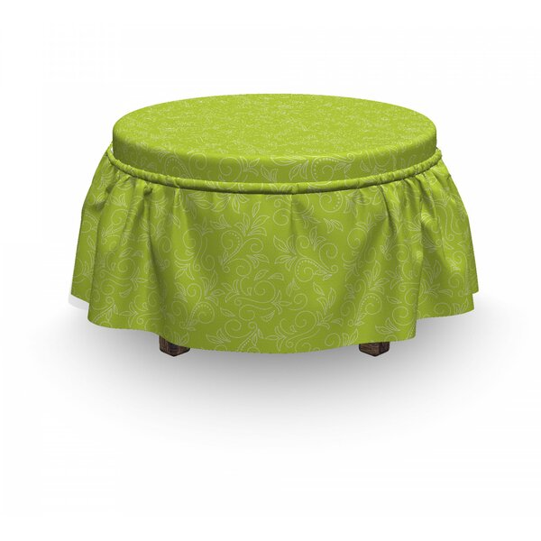 Leaf Doodle Curly Flora 2 Piece Box Cushion Ottoman Slipcover Set By East Urban Home