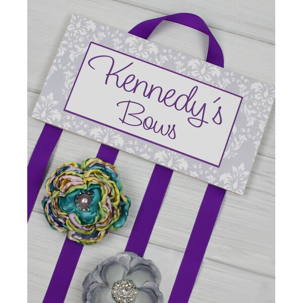 Gray Damask with Purple Accent Personalized Hair Bow Holder by Toad and Lily