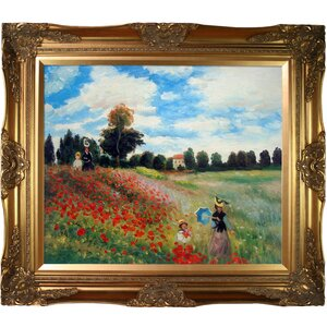 Poppy Field in Argenteuil by Claude Monet Framed Painting by Tori Home
