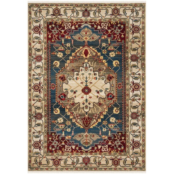 Land Ivory/Blue Area Rug by World Menagerie