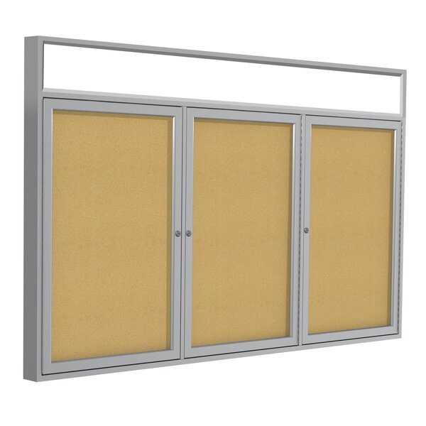 Ghent 3 Door Enclosed Vinyl Bulletin Board with Bronze Headliner Frame by Ghent