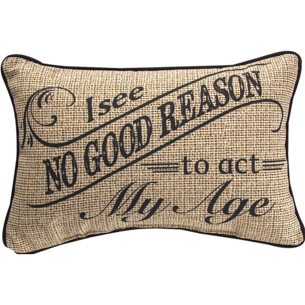I See No Good Reason... Word Cotton Lumbar Pillow by Manual Woodworkers & Weavers
