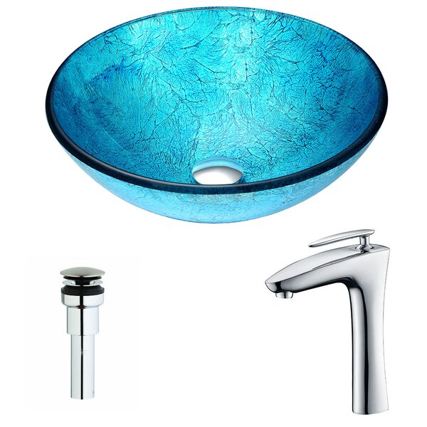 Accent Glass Circular Vessel Bathroom Sink with Faucet by ANZZI