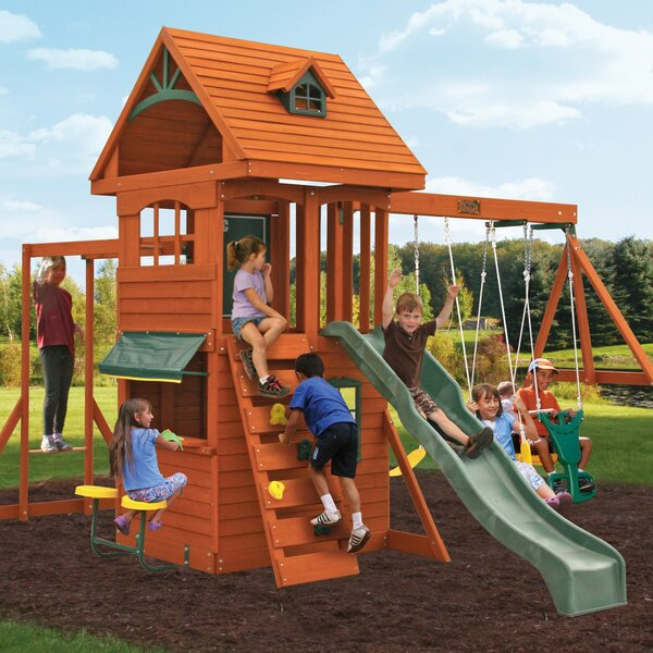 Ridgeview Deluxe Clubhouse Wooden Swing Set by KidKraft