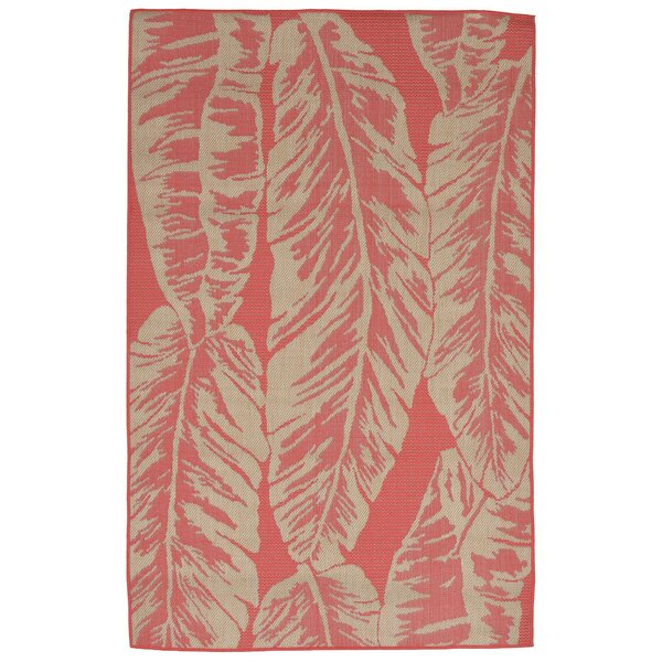 Hunley Banana Leaf Rust/Beige  Indoor/Outdoor Area Rug by Highland Dunes