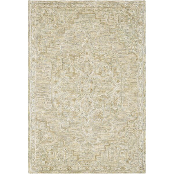 Jambi Traditional Hand Tufted Wool Khaki/Tan Area Rug by Ophelia & Co.