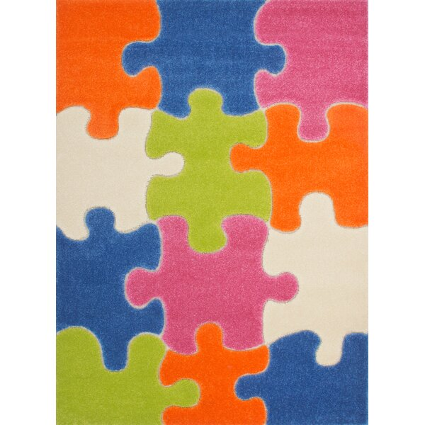 Howton Kids Jigsaw Puzzle Blue/Green Area Rug by Zoomie Kids