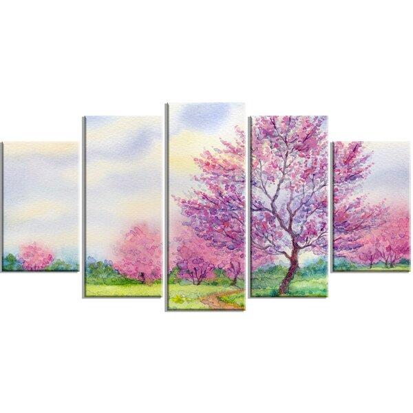 c40e9f17a8e DesignArt  Purple Spring Landscape  5 Piece Wall Art on Wrapped Canvas Set