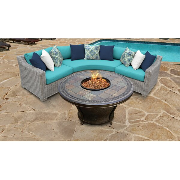 Claire 4 Piece Rattan Sectional Seating Group with Cushions by Rosecliff Heights