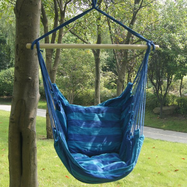 Stripe Soft Comfort Polyester and Cotton Chair Hammock by Prime Garden