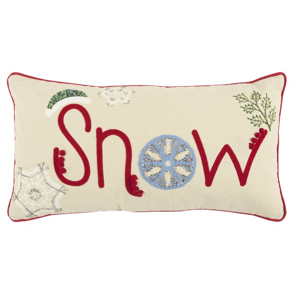 Snow Cotton Lumbar Pillow by The Holiday Aisle