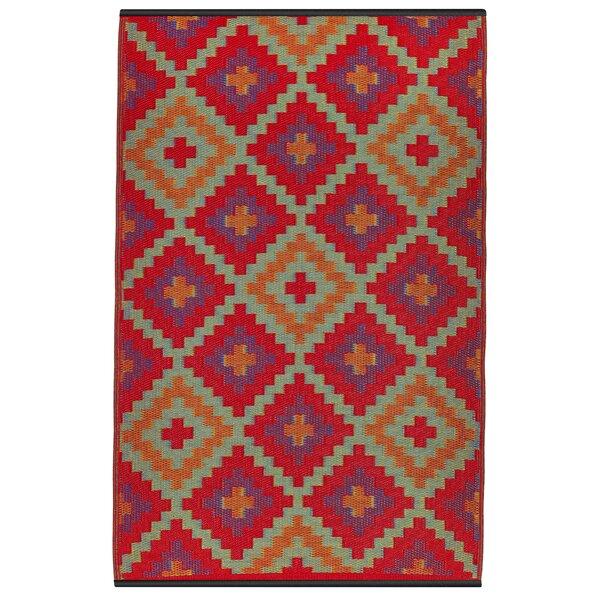 Patterson Hand Woven Red/Purple/Orange Indoor/Outdoor Area Rug by Loon Peak