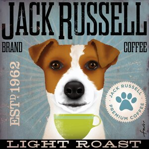 'Jack Russell Coffee' by Stephen Fowler Print on Wrapped Canvas by Portfolio Canvas Decor