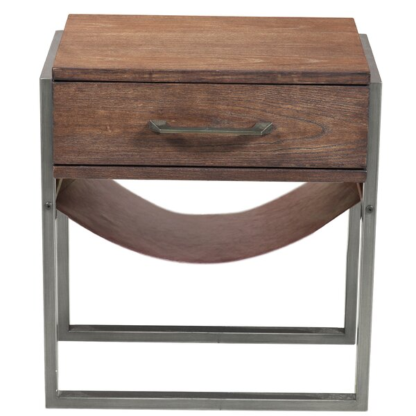 Larosa Industrial Style Acacia Wood End Table by Union Rustic