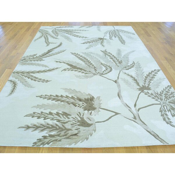 One-of-a-Kind Beverly Hand-Knotted Ivory Wool/Silk Area Rug by Isabelline