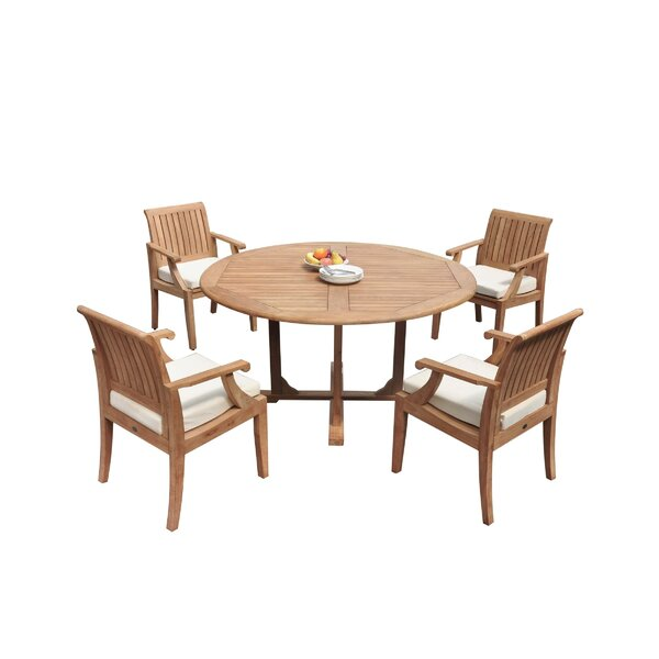 Misael 5 Piece Teak Dining Set by Rosecliff Heights