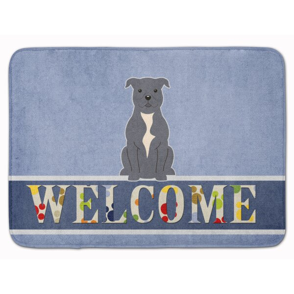 Staffordshire Bull Terrier Welcome Memory Foam Bath Rug by East Urban Home