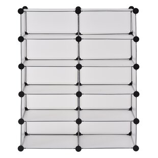 Affordable Price Modular Cube Storage 20 Pair Stackable Shoe Rack By Rebrilliant