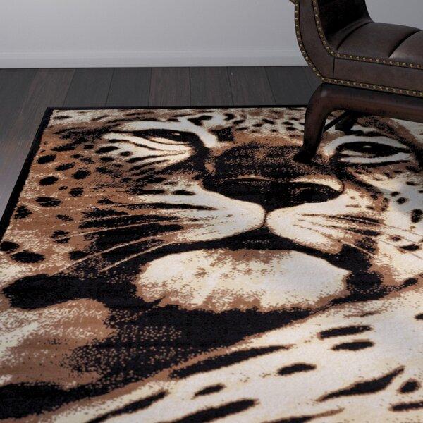 Emeline Leopard Black Animal Print Area Rug by Bloomsbury Market