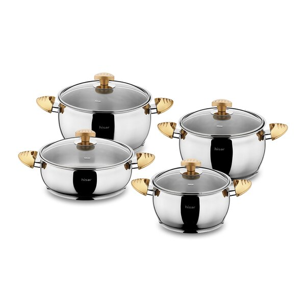 Lisbon 9 Piece Stainless Steel Cookware Set by Hisar