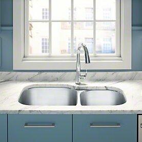 Undertone Preserve 35-1/8 L x 20-1/8 W x 9-5/8 Under-Mount Extra Large/Medium Double-Bowl Kitchen Sink by Kohler