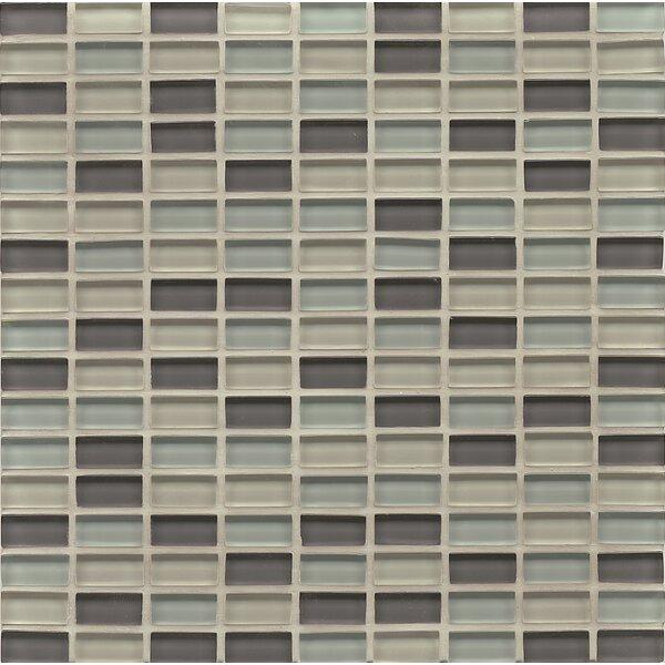 Harbor Glass 11 x 11 Glass Mini Brick Blend Gloss Tile in Starboard by Grayson Martin