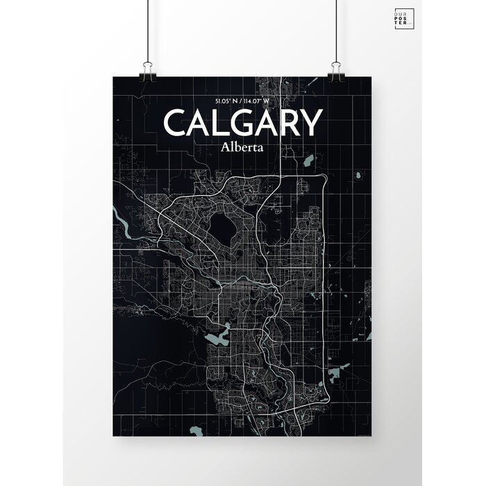 calgary city map graphic art print poster in midnight