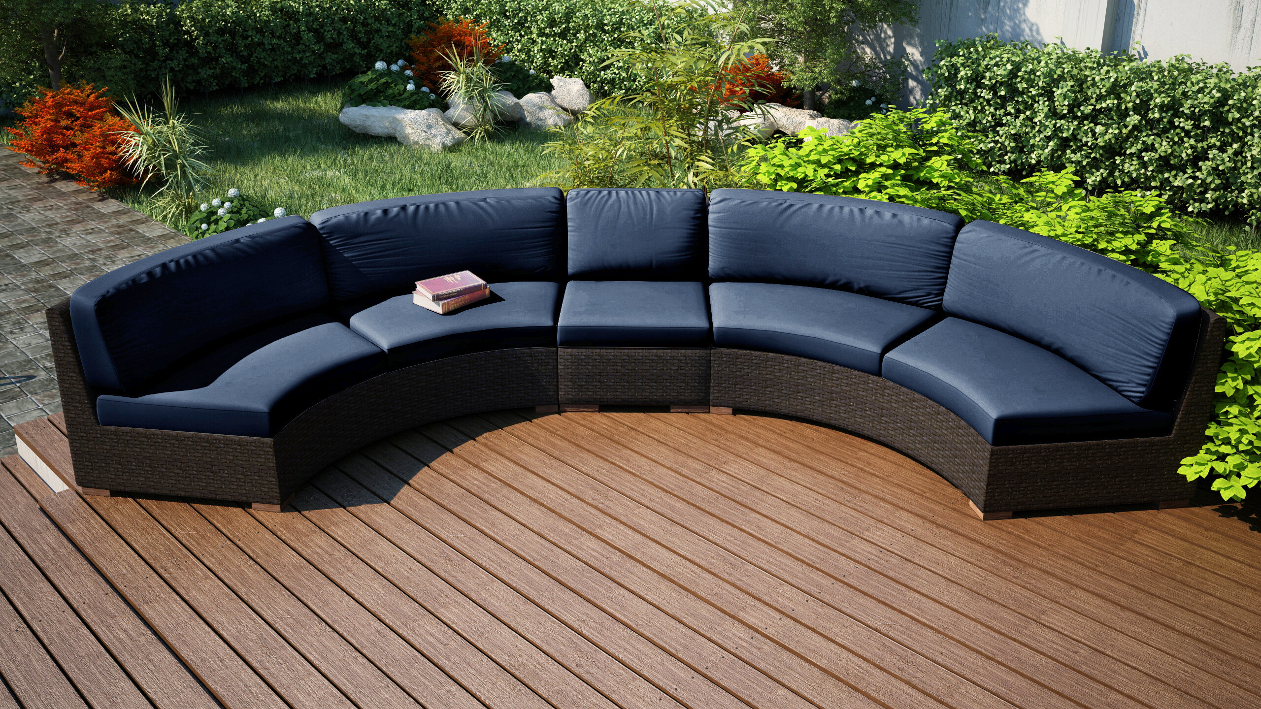 Rosecliff Heights Hodge Extended Curved Patio Sectional With