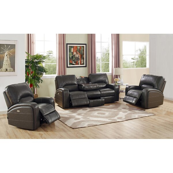 Woodhull Reclining Leather 3 Piece Living Room Set by Red Barrel Studio