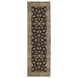 Affordable Price One-of-a-Kind Dharma Handwoven Runner 2'6 x 8' Wool/Silk Black/Gray Area Rug ByBokara Rug Co., Inc.