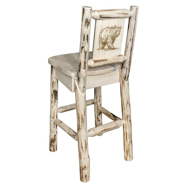 Toulon 30 Barstool with Back and Laser Engraved Bear Design by Loon Peak
